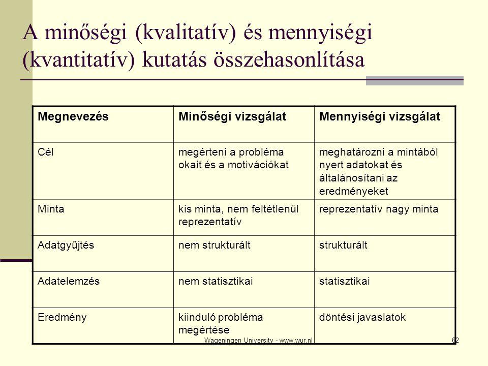 Wageningen University - www.wur.nl62 A minőségi (kvalitatív) és mennyiségi (kvantitatív) kutatás összehasonlítása MegnevezésMinőségi vizsgálatMennyiségi vizsgálat Célmegérteni a probléma okait és a motivációkat meghatározni a mintából nyert adatokat és általánosítani az eredményeket Mintakis minta, nem feltétlenül reprezentatív reprezentatív nagy minta Adatgyűjtésnem strukturáltstrukturált Adatelemzésnem statisztikaistatisztikai Eredménykiinduló probléma megértése döntési javaslatok