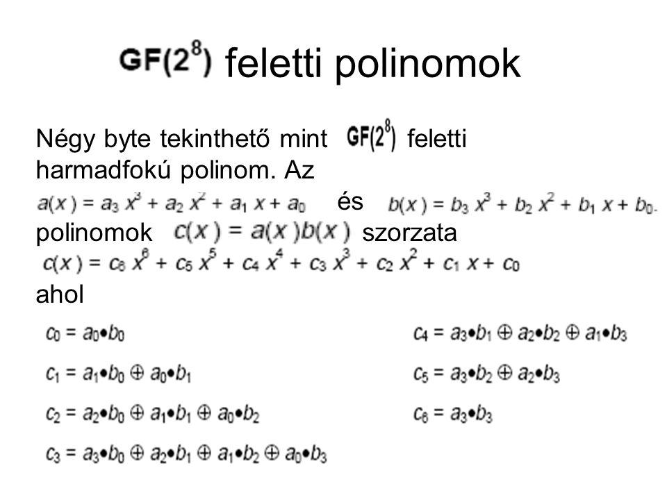 feletti polinomok Négy byte tekinthető mint feletti harmadfokú polinom. Az és polinomok szorzata ahol