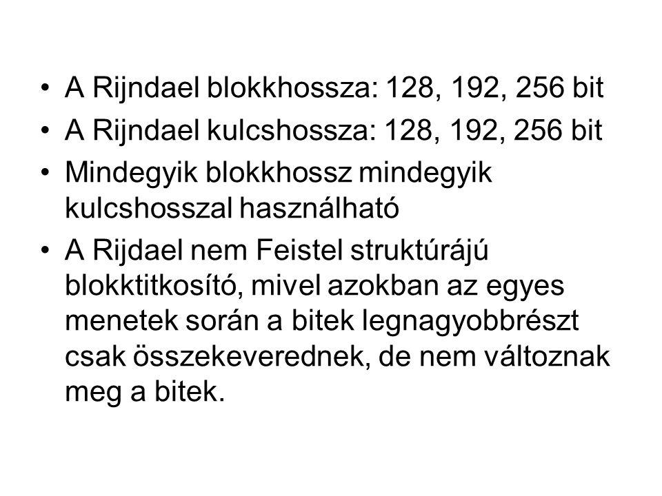 A Rijndael blokkhossza: 128, 192, 256 bit A Rijndael kulcshossza: 128, 192, 256 bit Mindegyik blokkhossz mindegyik kulcshosszal használható A Rijdael nem Feistel struktúrájú blokktitkosító, mivel azokban az egyes menetek során a bitek legnagyobbrészt csak összekeverednek, de nem változnak meg a bitek.