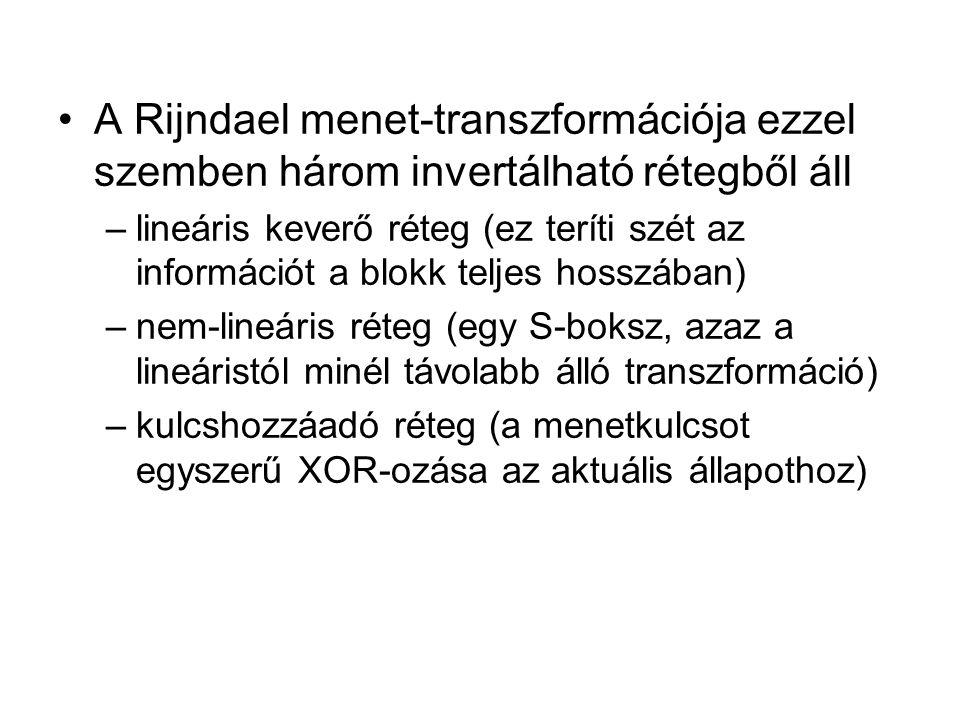 A Rijndael menet-transzformációja ezzel szemben három invertálható rétegből áll –lineáris keverő réteg (ez teríti szét az információt a blokk teljes hosszában) –nem-lineáris réteg (egy S-boksz, azaz a lineáristól minél távolabb álló transzformáció) –kulcshozzáadó réteg (a menetkulcsot egyszerű XOR-ozása az aktuális állapothoz)