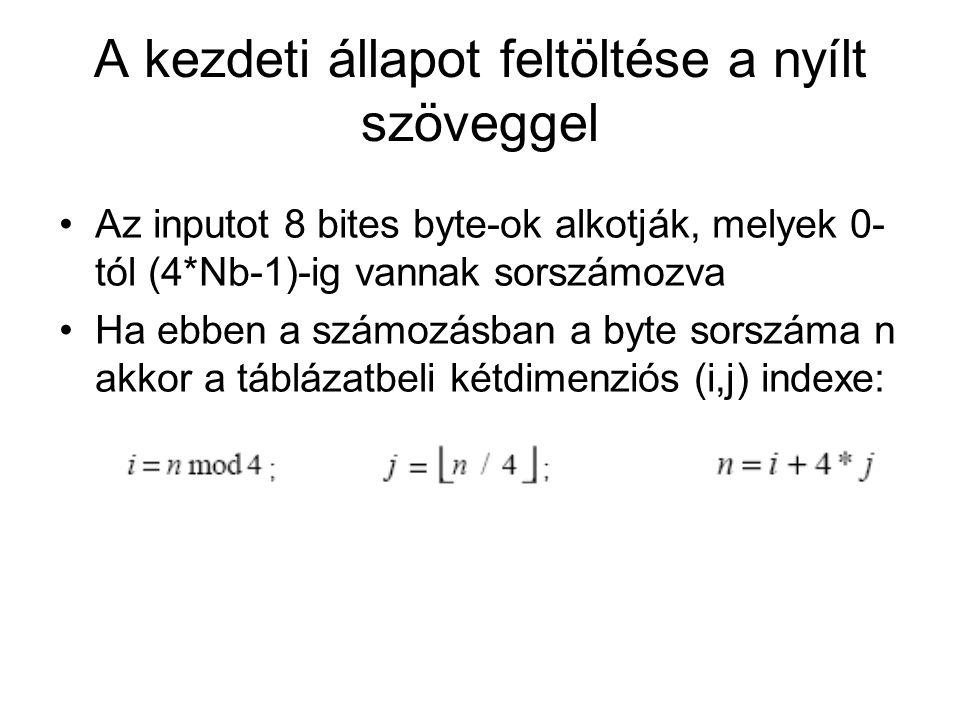 A kezdeti állapot feltöltése a nyílt szöveggel Az inputot 8 bites byte-ok alkotják, melyek 0- tól (4*Nb-1)-ig vannak sorszámozva Ha ebben a számozásban a byte sorszáma n akkor a táblázatbeli kétdimenziós (i,j) indexe: