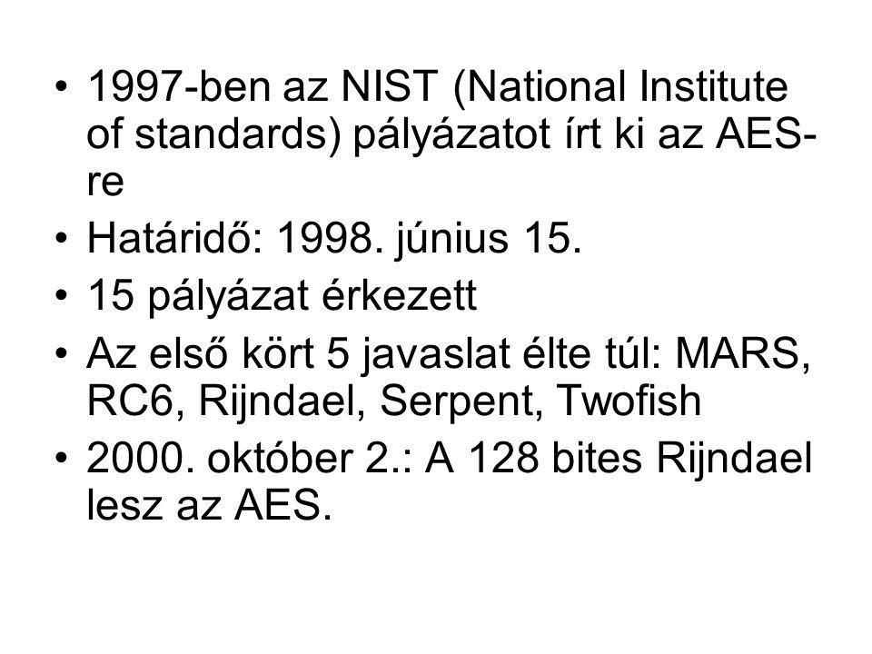 1997-ben az NIST (National Institute of standards) pályázatot írt ki az AES- re Határidő: 1998. június 15. 15 pályázat érkezett Az első kört 5 javasla