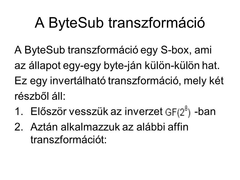 A ByteSub transzformáció A ByteSub transzformáció egy S-box, ami az állapot egy-egy byte-ján külön-külön hat. Ez egy invertálható transzformáció, mely