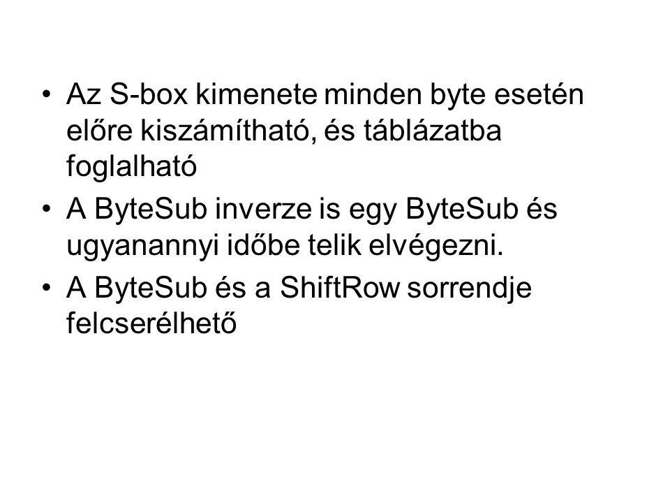 Az S-box kimenete minden byte esetén előre kiszámítható, és táblázatba foglalható A ByteSub inverze is egy ByteSub és ugyanannyi időbe telik elvégezni.