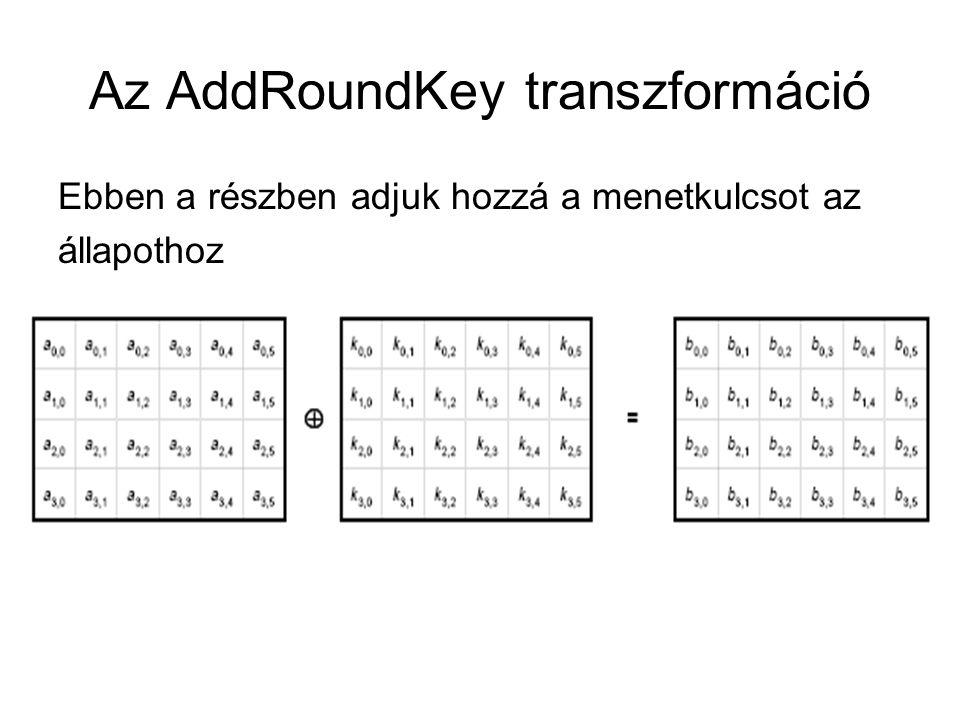 Az AddRoundKey transzformáció Ebben a részben adjuk hozzá a menetkulcsot az állapothoz