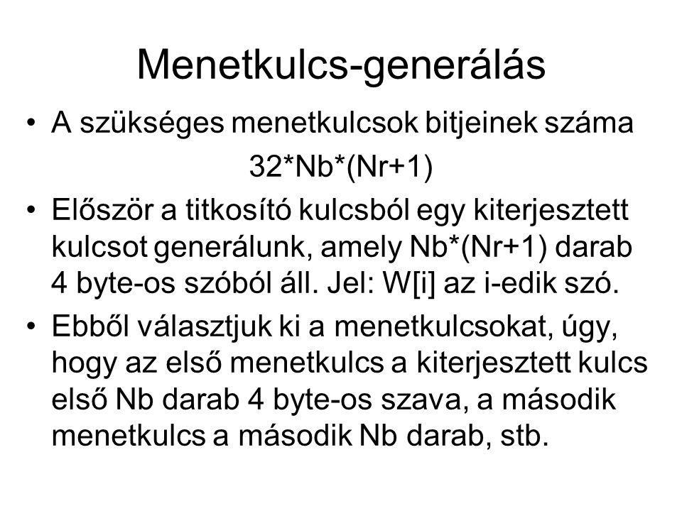 Menetkulcs-generálás A szükséges menetkulcsok bitjeinek száma 32*Nb*(Nr+1) Először a titkosító kulcsból egy kiterjesztett kulcsot generálunk, amely Nb*(Nr+1) darab 4 byte-os szóból áll.