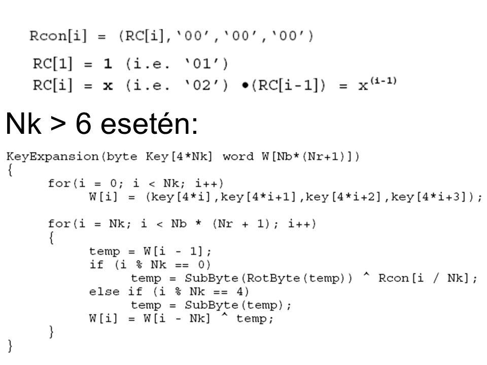 Nk > 6 esetén: