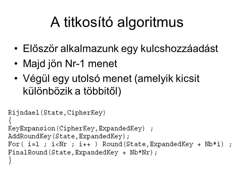 A titkosító algoritmus Először alkalmazunk egy kulcshozzáadást Majd jön Nr-1 menet Végül egy utolsó menet (amelyik kicsit különbözik a többitől)