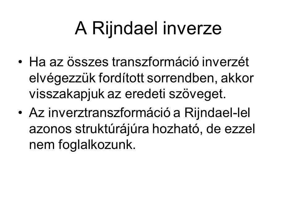 A Rijndael inverze Ha az összes transzformáció inverzét elvégezzük fordított sorrendben, akkor visszakapjuk az eredeti szöveget. Az inverztranszformác