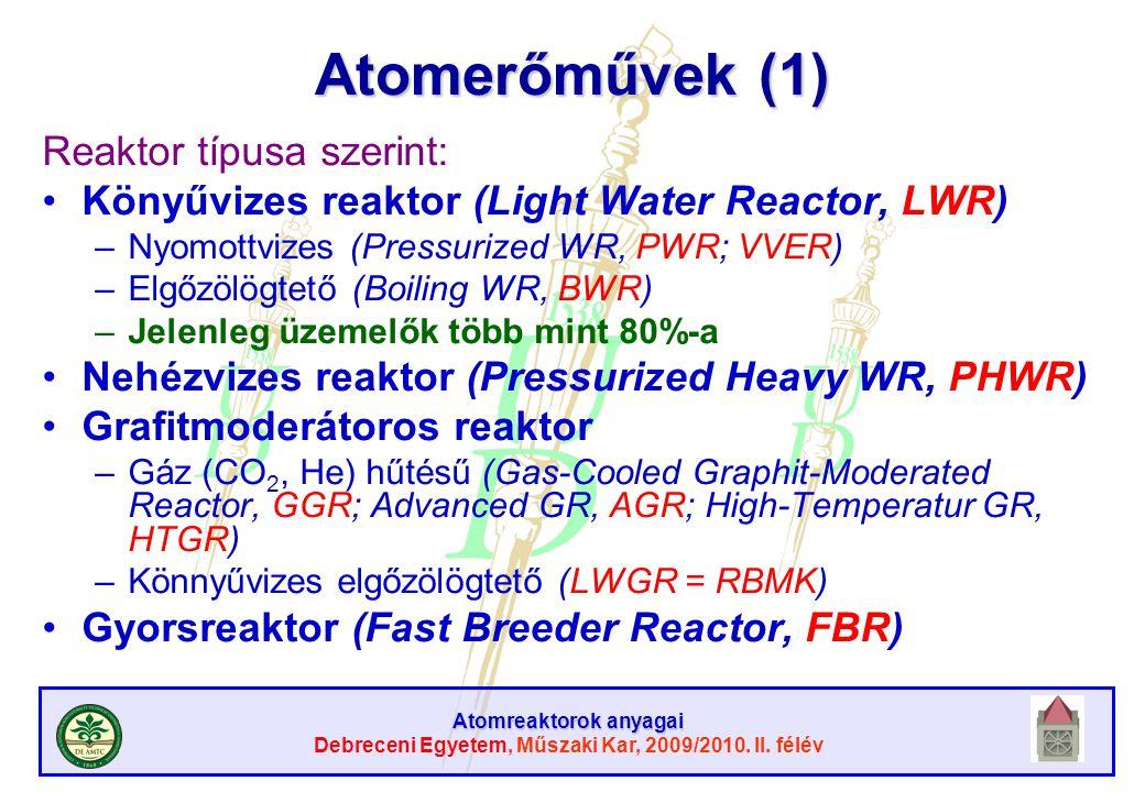 Atomreaktorok anyagai Debreceni Egyetem, Műszaki Kar, 2009/2010. II. félév Atomerőművek (1) Reaktor típusa szerint: Könyűvizes reaktor (Light Water Re