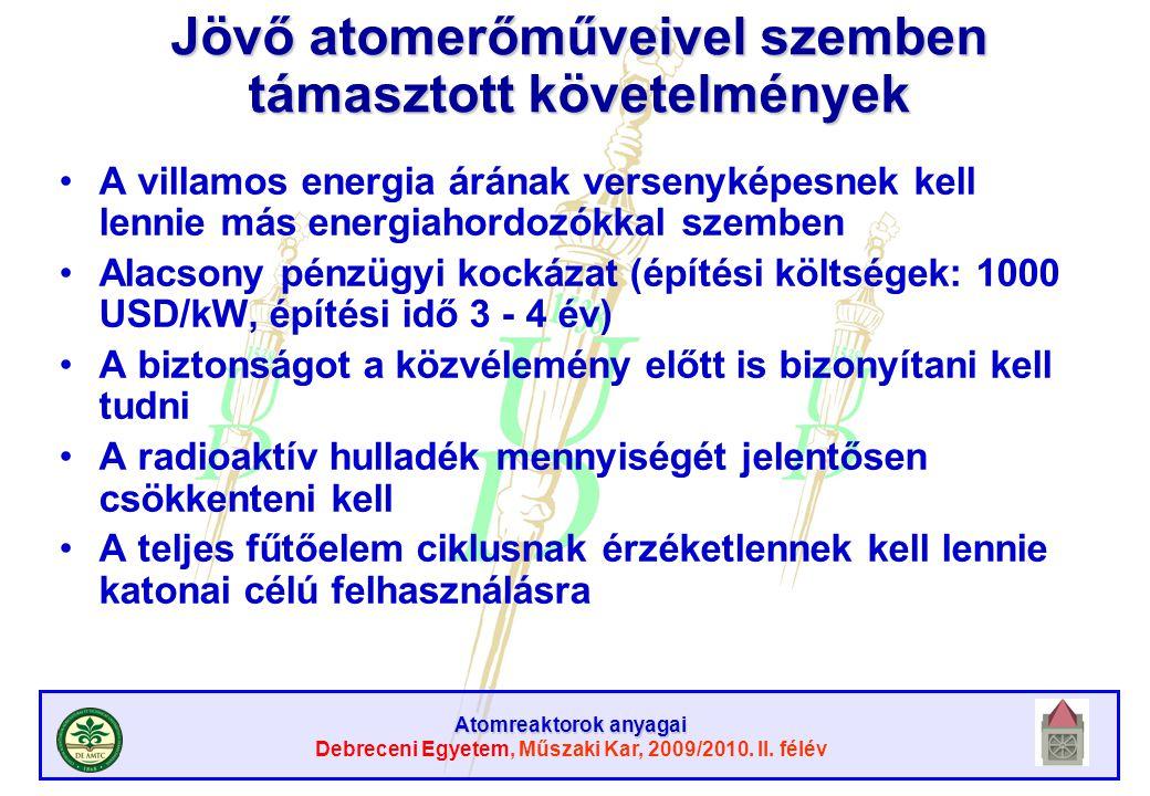 Atomreaktorok anyagai Debreceni Egyetem, Műszaki Kar, 2009/2010. II. félév Jövő atomerőműveivel szemben támasztott követelmények A villamos energia ár