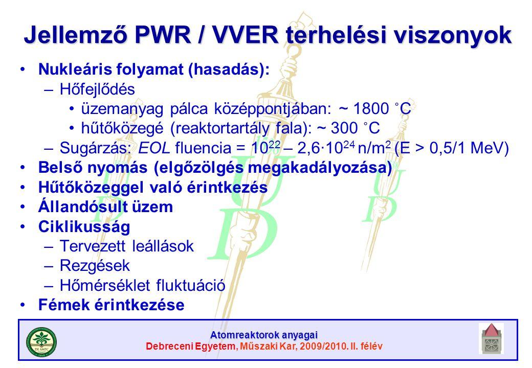 Atomreaktorok anyagai Debreceni Egyetem, Műszaki Kar, 2009/2010. II. félév Jellemző PWR / VVER terhelési viszonyok Nukleáris folyamat (hasadás): –Hőfe