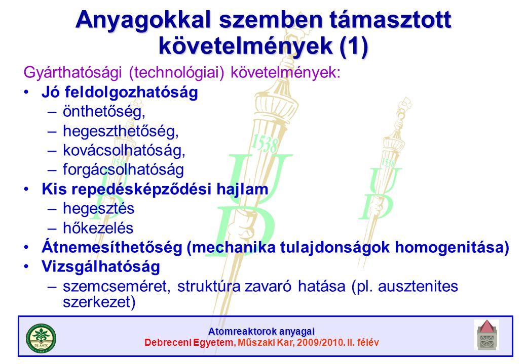 Atomreaktorok anyagai Debreceni Egyetem, Műszaki Kar, 2009/2010. II. félév Anyagokkal szemben támasztott követelmények (1) Gyárthatósági (technológiai