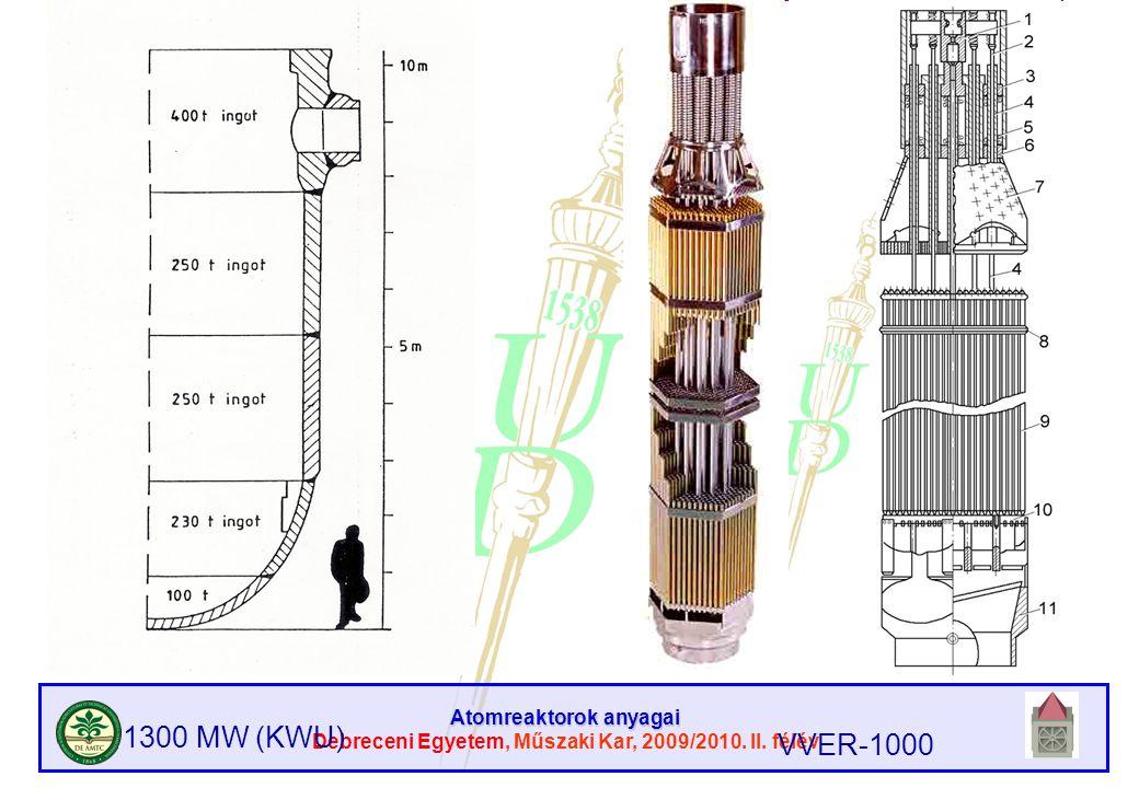 Atomreaktorok anyagai Debreceni Egyetem, Műszaki Kar, 2009/2010. II. félév 1300 MW (KWU) VVER-1000