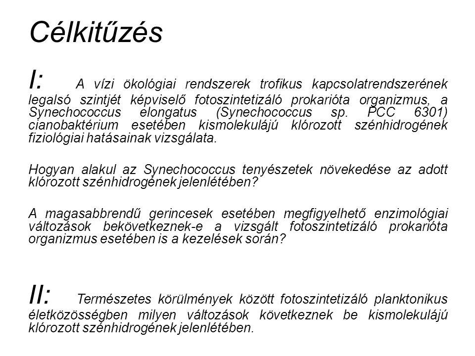 Anyag és módszer - Synechococcus PCC 6301 Anyag és módszer - Synechococcus PCC 6301 - Nevelés állandó fényen (80 µmol × m-2 × s-1), 37°C-on, steril levegővel buborékoltatott 300 ml-es Erlenmeyer lombikokban - Növekedés vizsgálatok (klorofilltartalom, fehérjetartalom, száraz tömeg, sejtszám meghatározása) - Fotoszintetikus pigmentek arányának vizsgálata (Fityk) - Enzimológiai vizsgálatok (Peroxidáz; lipid peroxidáció - TBARS; SOD)