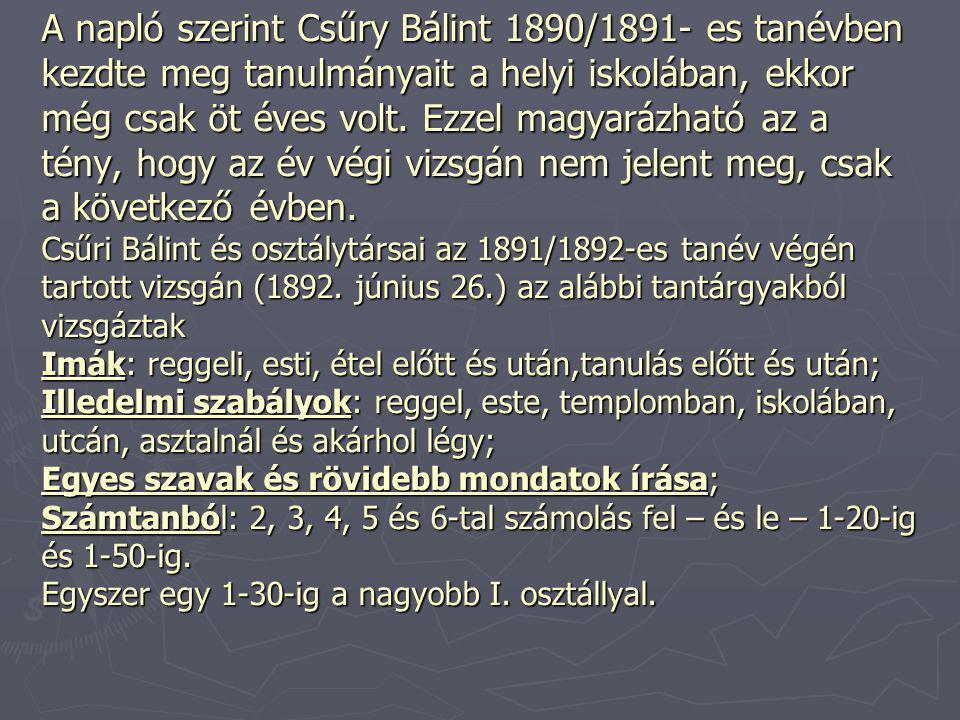 A napló szerint Csűry Bálint 1890/1891- es tanévben kezdte meg tanulmányait a helyi iskolában, ekkor még csak öt éves volt.