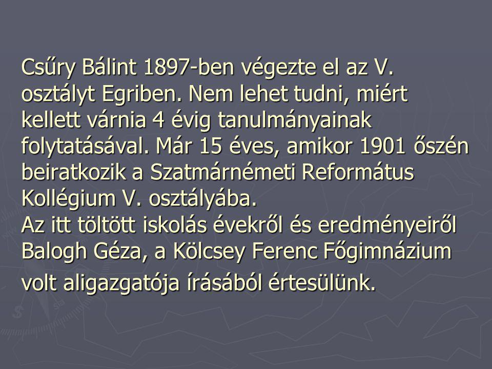 Csűry Bálint 1897-ben végezte el az V. osztályt Egriben. Nem lehet tudni, miért kellett várnia 4 évig tanulmányainak folytatásával. Már 15 éves, amiko