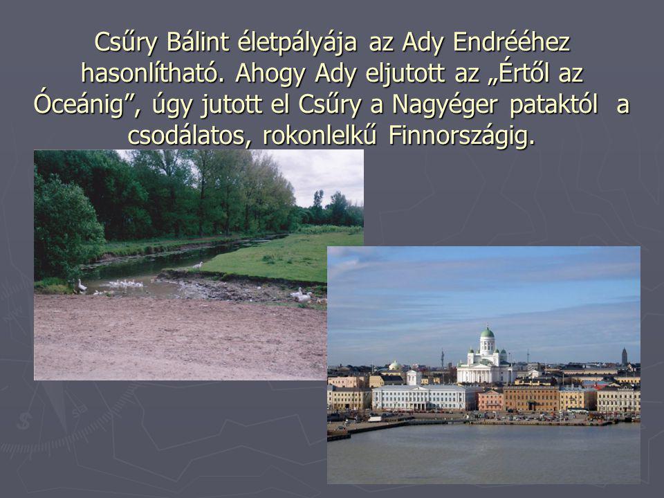 """Csűry Bálint életpályája az Ady Endrééhez hasonlítható. Ahogy Ady eljutott az """"Értől az Óceánig"""", úgy jutott el Csűry a Nagyéger pataktól a csodálatos"""