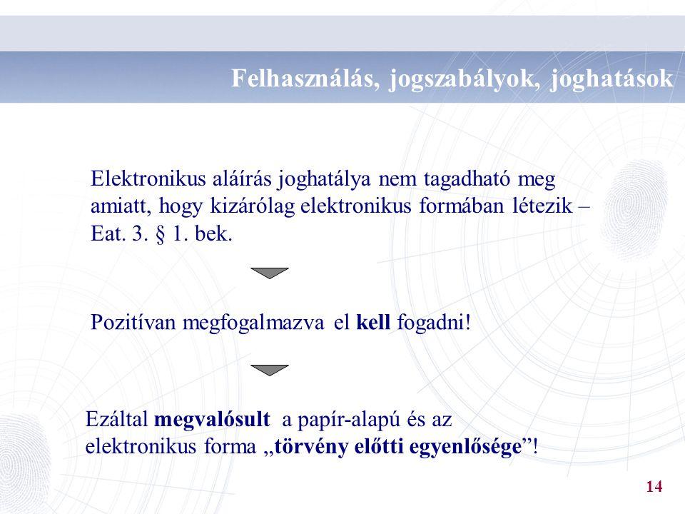 Elektronikus aláírás joghatálya nem tagadható meg amiatt, hogy kizárólag elektronikus formában létezik – Eat. 3. § 1. bek. Pozitívan megfogalmazva el