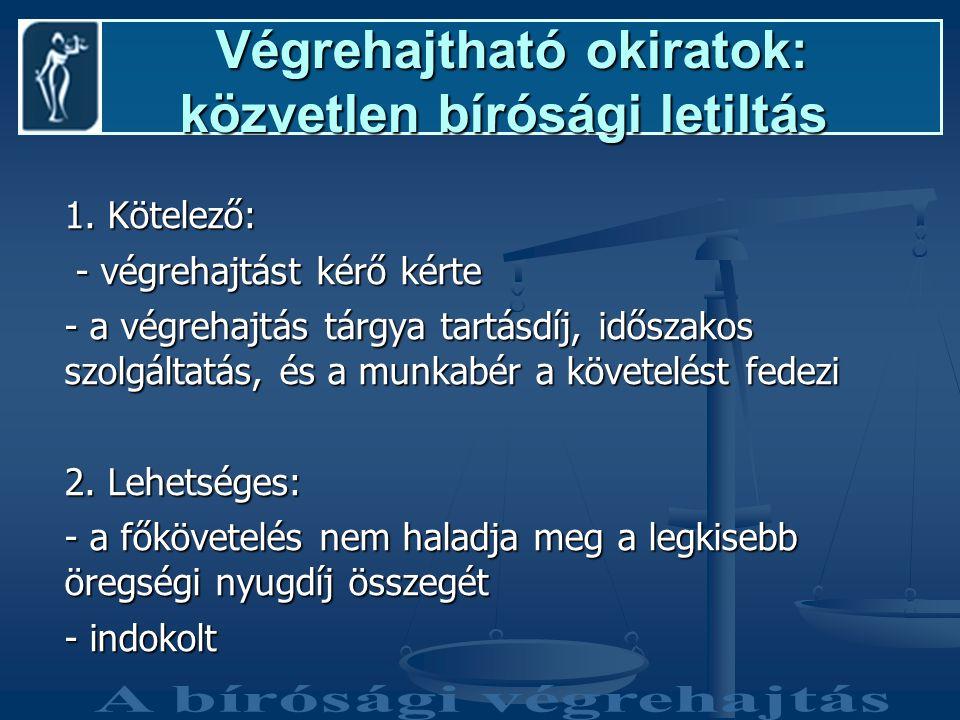 Végrehajtható okiratok: közvetlen bírósági letiltás Végrehajtható okiratok: közvetlen bírósági letiltás 1.