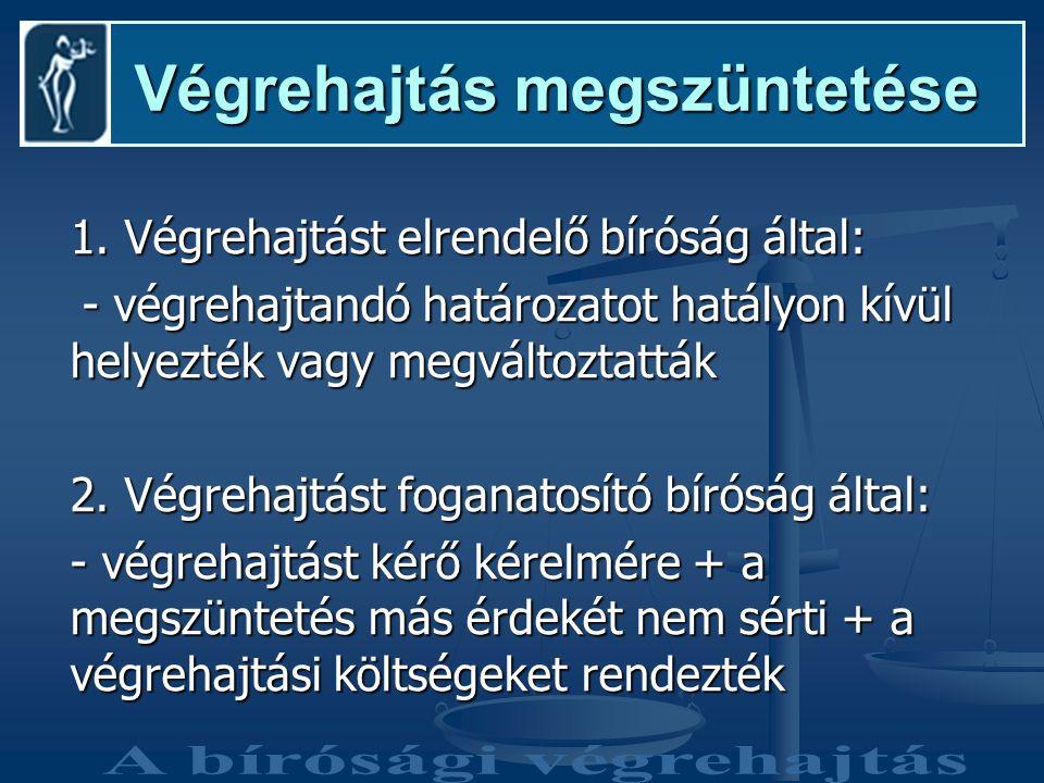 Végrehajtás megszüntetése Végrehajtás megszüntetése 1.