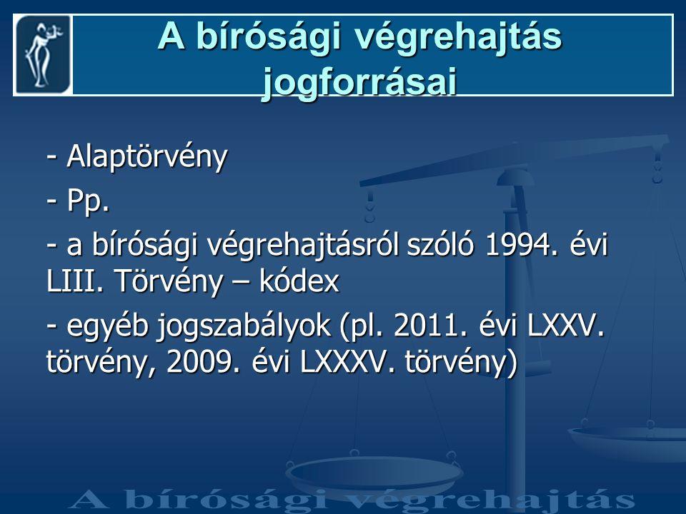 A bírósági végrehajtás jogforrásai - Alaptörvény - Pp.