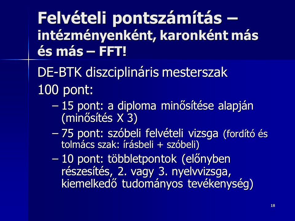 18 Felvételi pontszámítás – intézményenként, karonként más és más – FFT.
