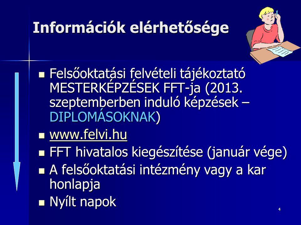 4 Információk elérhetősége Felsőoktatási felvételi tájékoztató MESTERKÉPZÉSEK FFT-ja (2013.