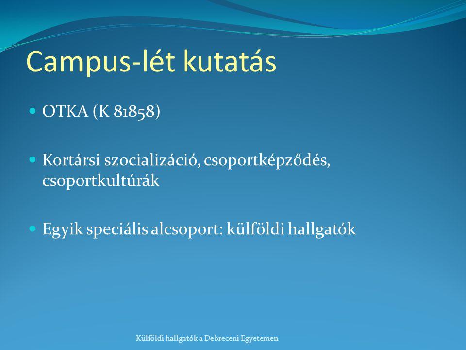 Campus-lét kutatás OTKA (K 81858) Kortársi szocializáció, csoportképződés, csoportkultúrák Egyik speciális alcsoport: külföldi hallgatók Külföldi hallgatók a Debreceni Egyetemen