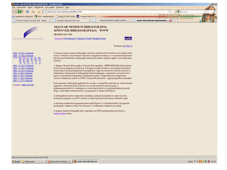 Elsődleges hungarika: bármely szerzőtől nem Magyarországon megjelent magyar nyelvű művek, eredetileg magyar nyelvű művek külföldön megjelent fordításai (nyelvi szempont), magyar szerző külföldön megjelent idegen nyelven írt kiadványai (személyi szempont) Másodlagos hungarika: azok a külföldi szerzők által írt idegen nyelvű művek, amelyek Magyarországgal valamilyen szempontból kapcsolatosak(tárgyi, tartalmi szempont) A nemzeti bibliográfiák fejlődését meghatározó alapelvek: IFLA: UBC (Egyetemes Bibliográfiai Számbavétel) 1986 UBCIM (UBC International MARC) 1977: Párizs 1998: Koppenhága Minden ország felelős a területén megjelent nyomtatványok számbavételéért A patriotika irodalom regisztrálása minden ország belső ügye A nemzeti impresszumú dokumentumok adatait a patriotika irodalomtól elkülönített formában kell közreadni.