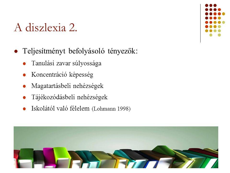 A diszlexia 2. Teljesítményt befolyásoló tényezők : Tanulási zavar súlyossága Koncentráció képesség Magatartásbeli nehézségek Tájékozódásbeli nehézség