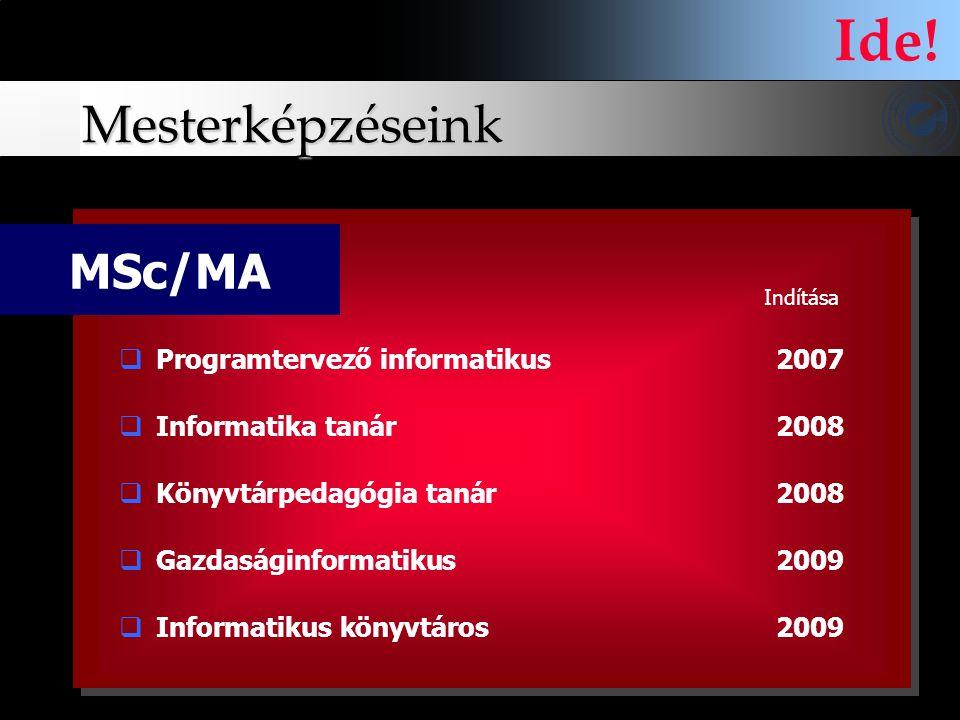 Mesterképzéseink MSc/MA  Programtervező informatikus 2007  Informatika tanár 2008  Könyvtárpedagógia tanár2008  Gazdaságinformatikus 2009  Inform