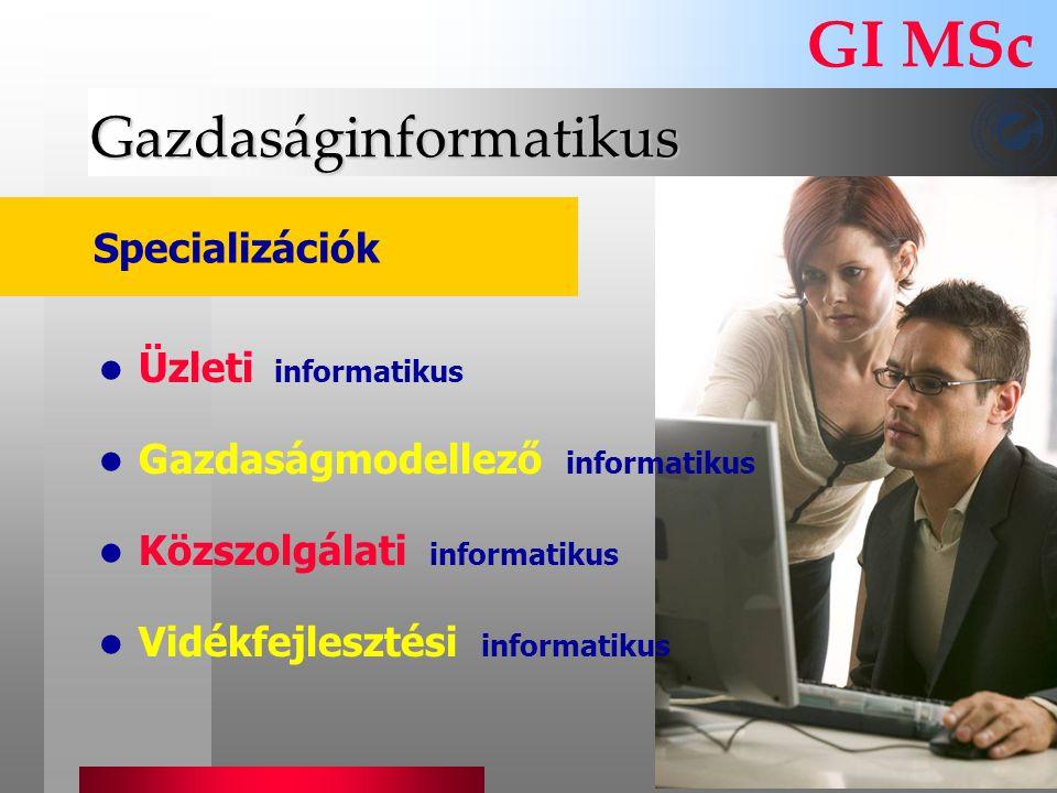 Gazdaságinformatikus GI MSc Specializációk Üzleti informatikus Gazdaságmodellező informatikus Közszolgálati informatikus Vidékfejlesztési informatikus
