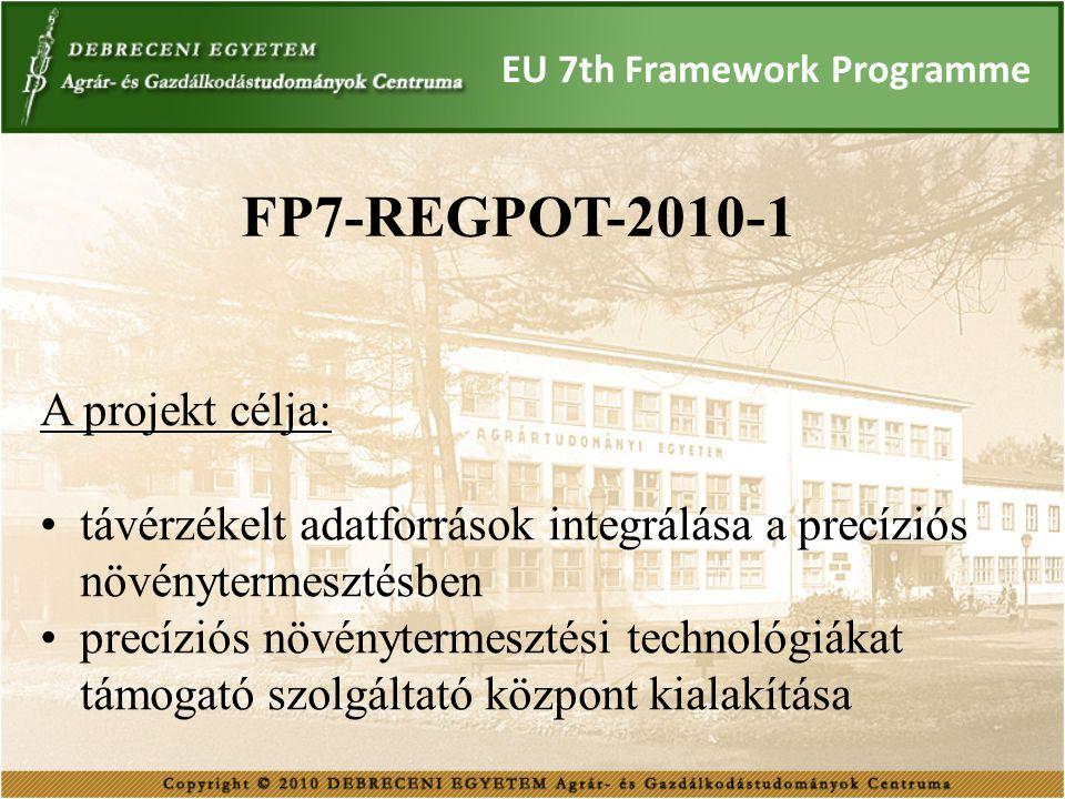 EU 7th Framework Programme FP7-REGPOT-2010-1 A projekt célja: távérzékelt adatforrások integrálása a precíziós növénytermesztésben precíziós növényter