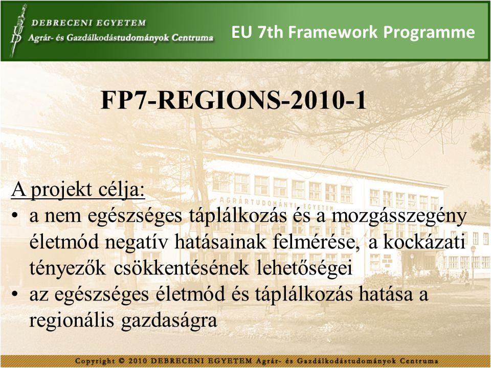 EU 7th Framework Programme FP7-REGIONS-2010-1 A projekt célja: a nem egészséges táplálkozás és a mozgásszegény életmód negatív hatásainak felmérése, a