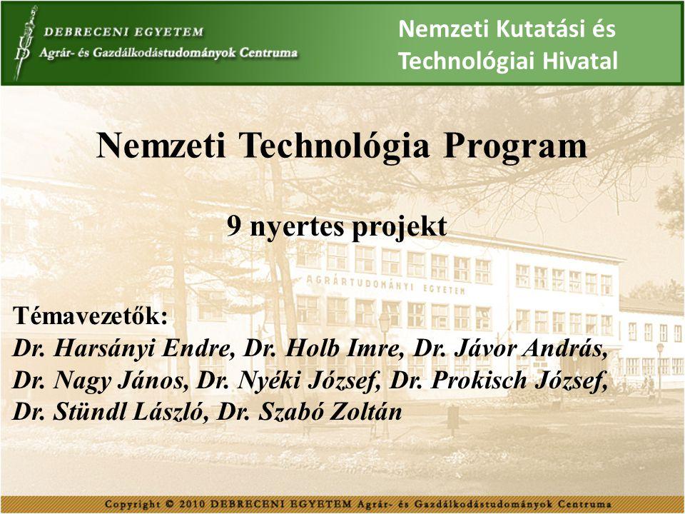 Nemzeti Technológia Program 9 nyertes projekt Témavezetők: Dr. Harsányi Endre, Dr. Holb Imre, Dr. Jávor András, Dr. Nagy János, Dr. Nyéki József, Dr.