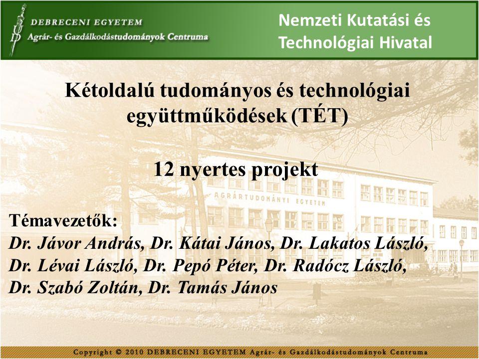Kétoldalú tudományos és technológiai együttműködések (TÉT) 12 nyertes projekt Témavezetők: Dr. Jávor András, Dr. Kátai János, Dr. Lakatos László, Dr.