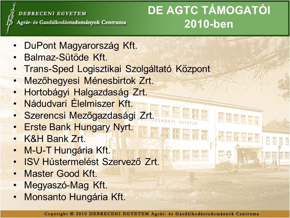 DE AGTC TÁMOGATÓI 2010-ben DuPont Magyarország Kft. Balmaz-Sütöde Kft. Trans-Sped Logisztikai Szolgáltató Központ Mezőhegyesi Ménesbirtok Zrt. Hortobá