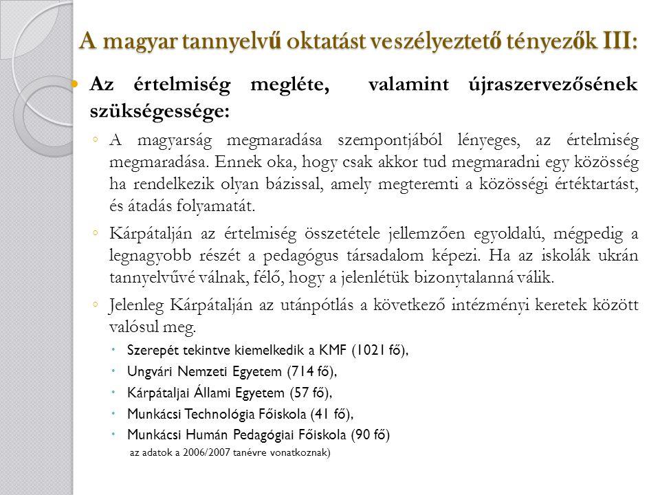 A magyar tannyelv ű oktatást veszélyeztet ő tényez ő k III: Az értelmiség megléte, valamint újraszervezősének szükségessége: ◦ A magyarság megmaradása szempontjából lényeges, az értelmiség megmaradása.