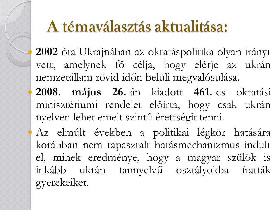 A témaválasztás aktualitása: 2002 óta Ukrajnában az oktatáspolitika olyan irányt vett, amelynek fő célja, hogy elérje az ukrán nemzetállam rövid időn belüli megvalósulása.