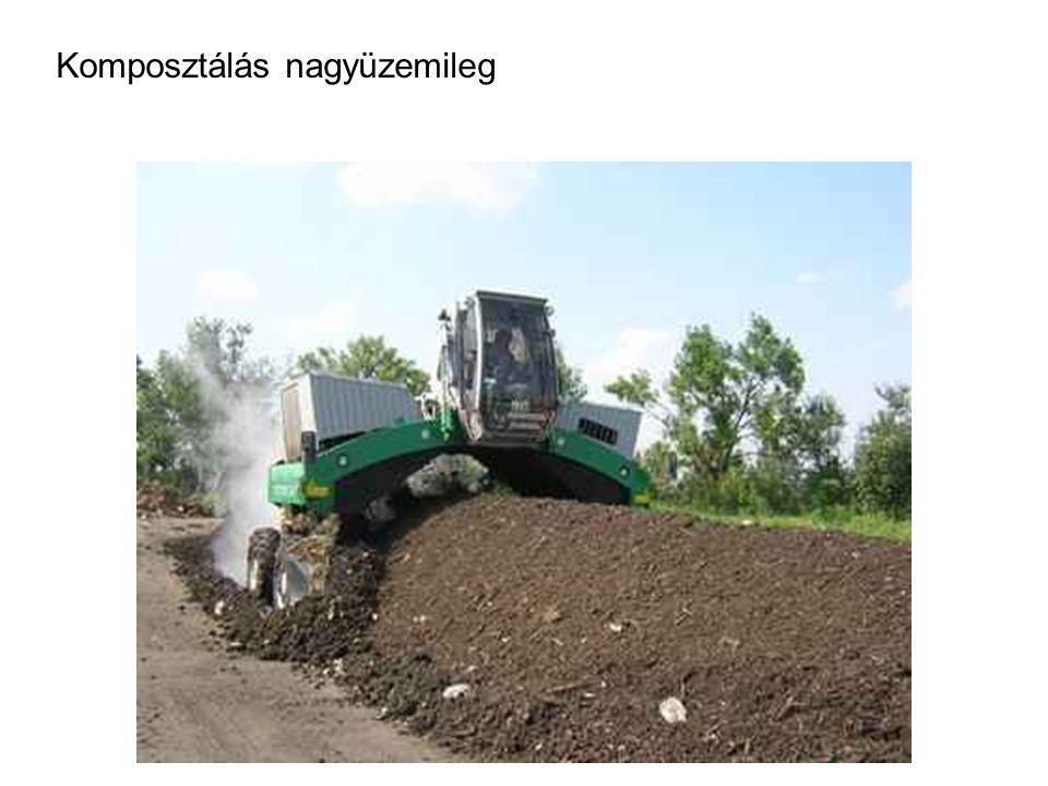 Komposztálás nyersanyagai Összetétel: szerves hulladék + adalékanyagok nem kívánatos anyagok : ~ idegen anyagok (kő, műanyag, fém) ~ szervetlen és sze