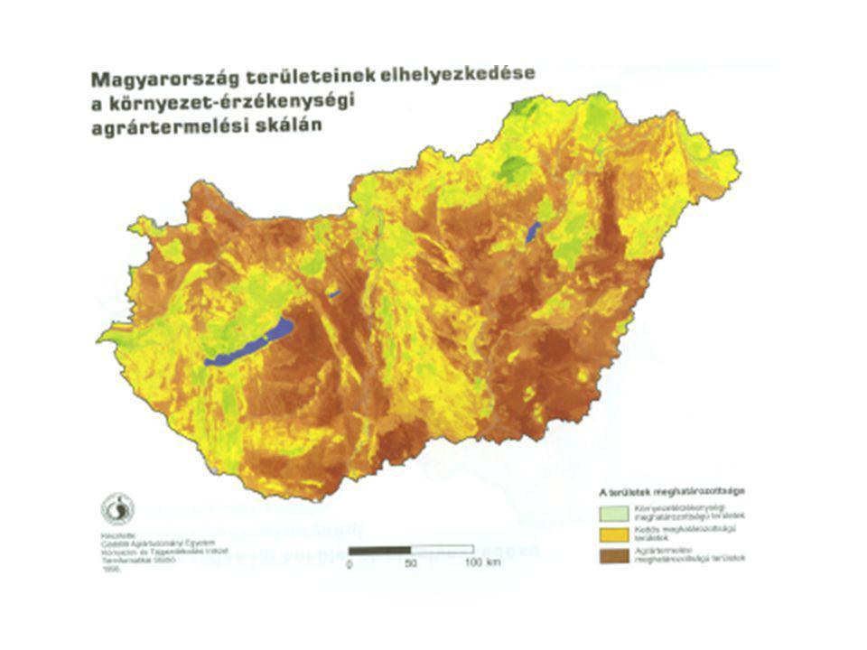 Magyarország területeinek felosztása környezetérzékenység és agrártermelés szempontjából Kedvező tulajdonságú területek Veszélyeztetett területek Véde