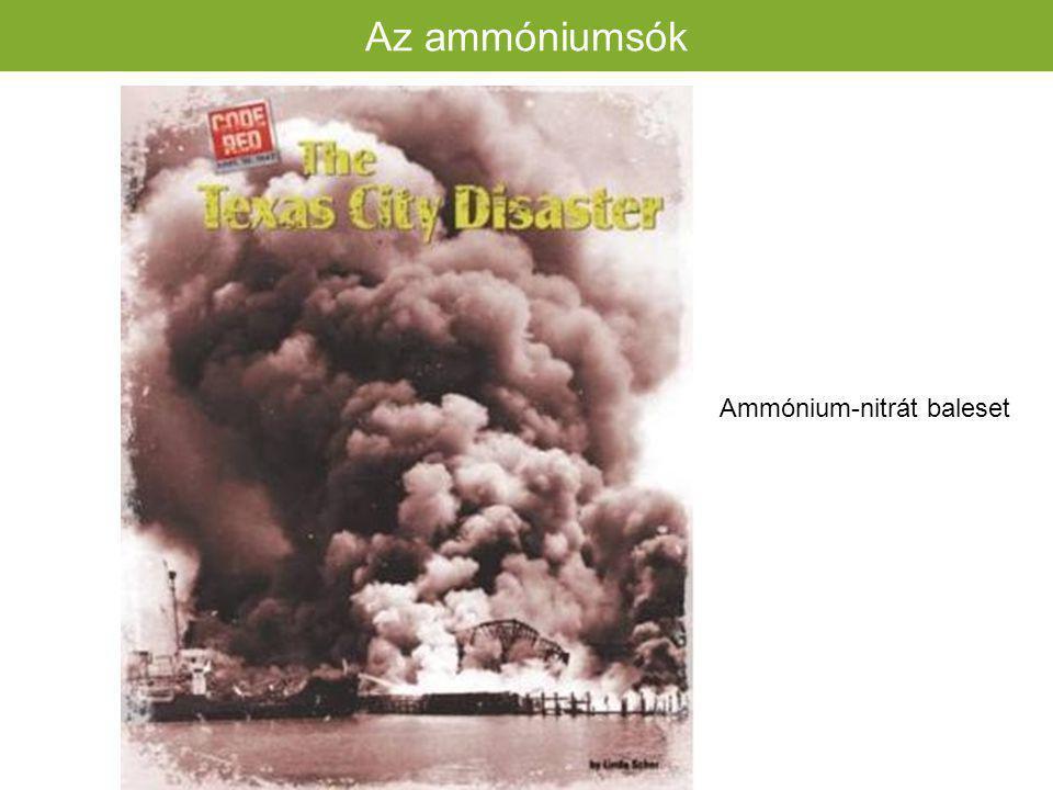 Ammónium-nitrát (NH 4 NO 3 ) Hatóanyag tartalom:Hatóanyag tartalom: GyártásaGyártása rossz tulajdonságok rossz tulajdonságok Az ammóniumsók