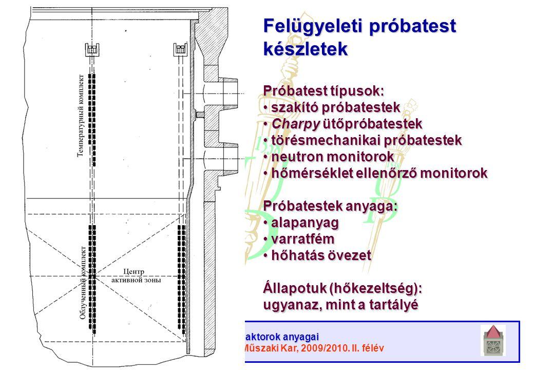 Atomreaktorok anyagai Debreceni Egyetem, Műszaki Kar, 2009/2010. II. félév Felügyeleti próbatestek