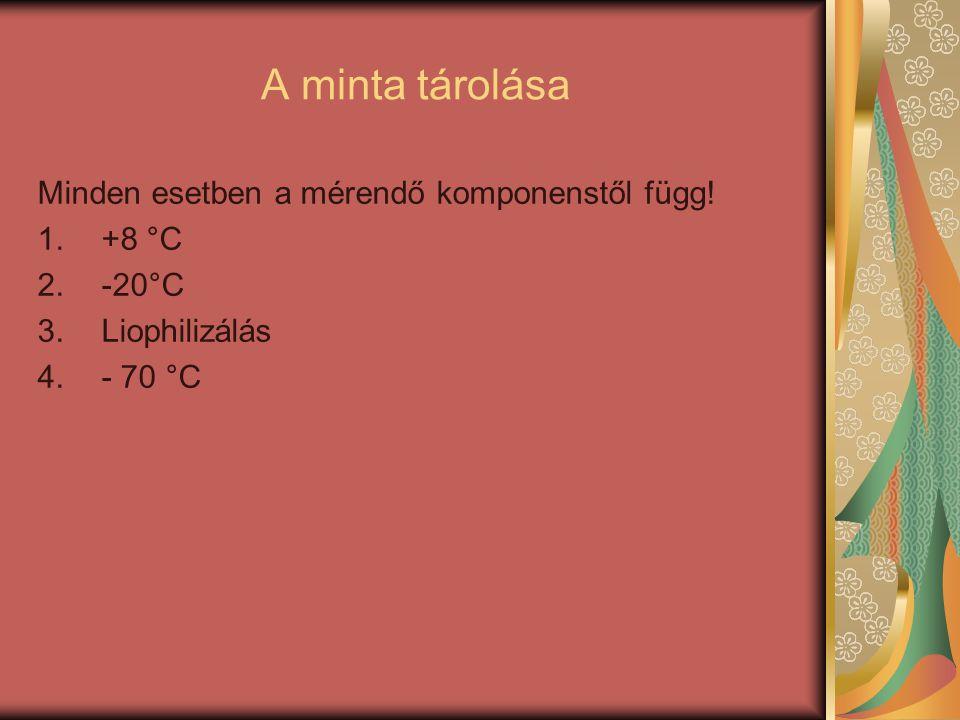 A minta tárolása Minden esetben a mérendő komponenstől függ! 1.+8 °C 2.-20°C 3.Liophilizálás 4.- 70 °C