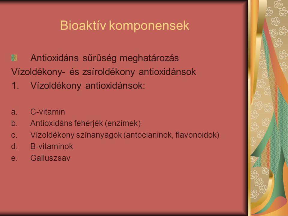 Bioaktív komponensek Antioxidáns sűrűség meghatározás Vízoldékony- és zsíroldékony antioxidánsok 1.Vízoldékony antioxidánsok: a.C-vitamin b.Antioxidán