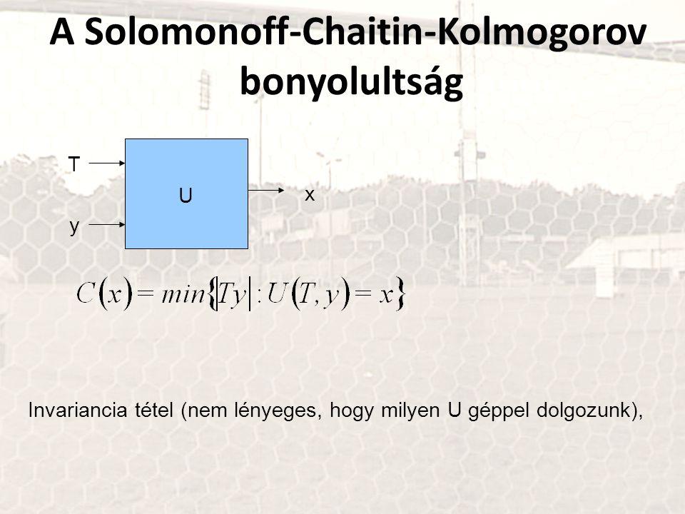 A Solomonoff-Chaitin-Kolmogorov bonyolultság U T y x Invariancia tétel (nem lényeges, hogy milyen U géppel dolgozunk),