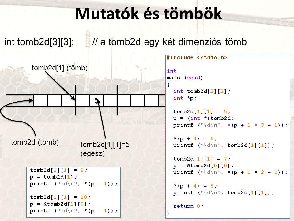 Mutatók és tömbök int tomb2d[3][3]; // a tomb2d egy két dimenziós tömb tár 5 tomb2d (tömb) tomb2d[1][1]=5 (egész) tomb2d[1] (tömb)