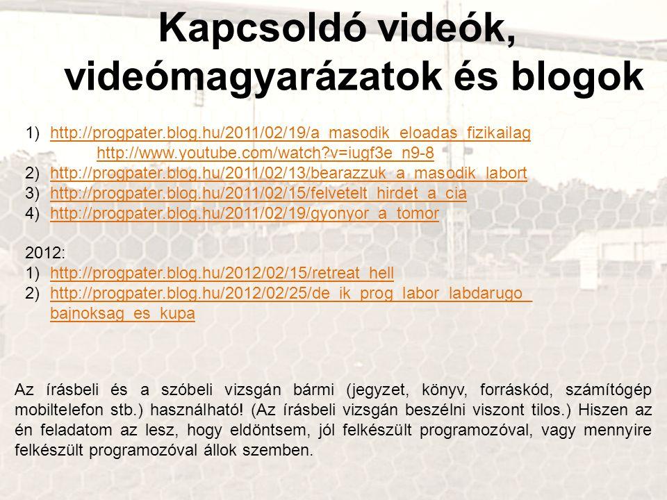 Kapcsoldó videók, videómagyarázatok és blogok 1)http://progpater.blog.hu/2011/02/19/a_masodik_eloadas_fizikailag http://www.youtube.com/watch?v=iugf3e