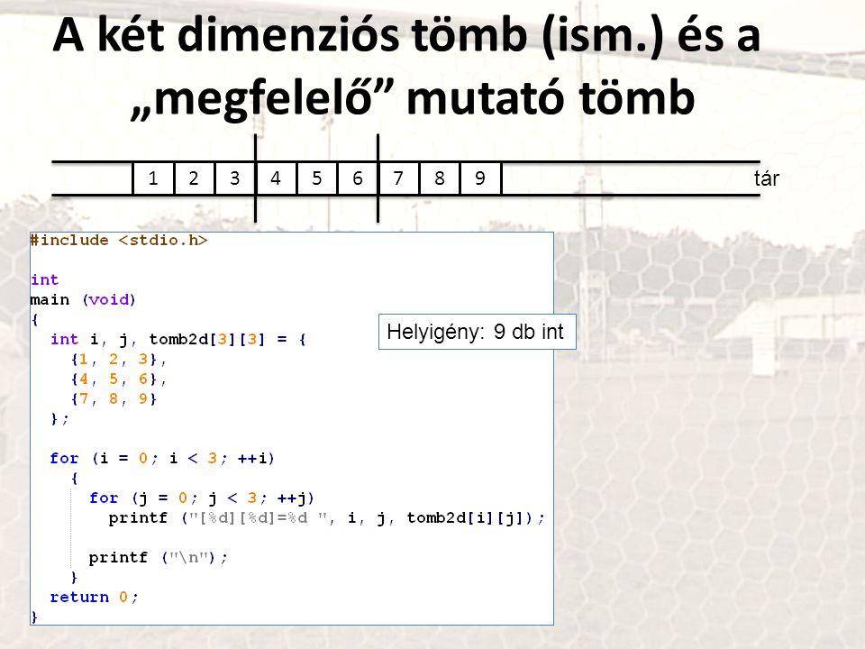 """tár 123456789 Helyigény: 9 db int A két dimenziós tömb (ism.) és a """"megfelelő"""" mutató tömb"""